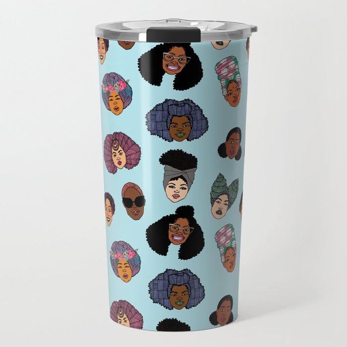 Black Hair Magic - Blue Travel Mug