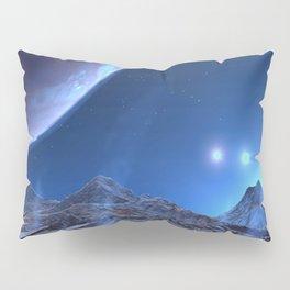 Extraterrestrial Landscape : Galaxy Planet Blue Pillow Sham