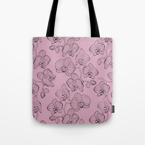 Retro . Orchid flowers on a pink background . Tote Bag