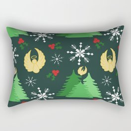 Holiday angels in green Rectangular Pillow