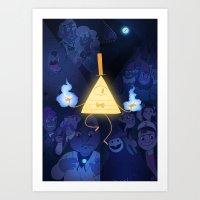 gravity falls Art Prints featuring Gravity Falls by Cátia Moreira