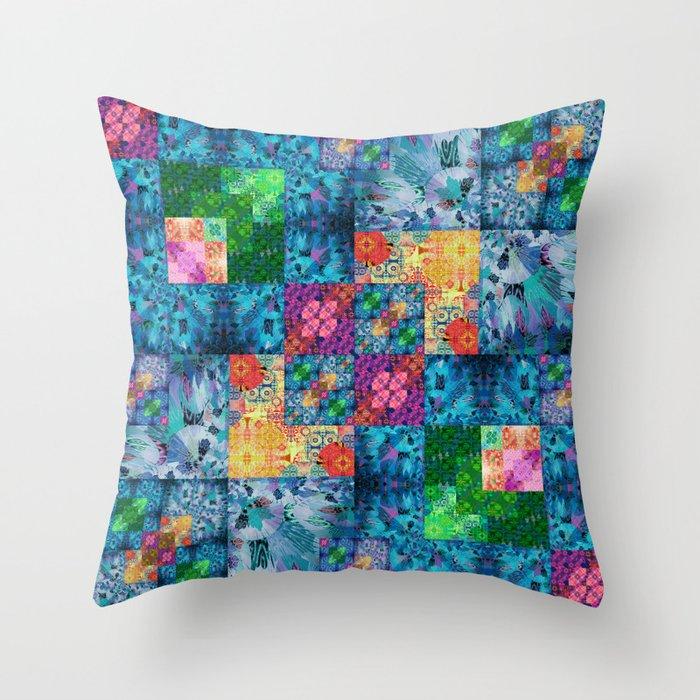 High Definition Geometric Quilt 1 Throw Pillow