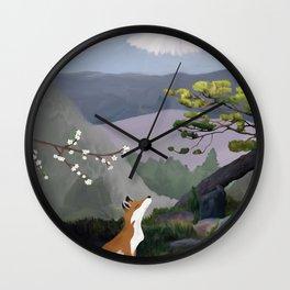 Fuji-san, kitsune and sakura (Mt Fuji, fox and cherry blossom) Wall Clock