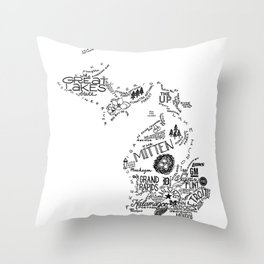 Michigan - Hand Lettered Map Throw Pillow