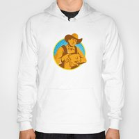 piglet Hoodies featuring Pig Farmer Holding Piglet Front Retro by retrovectors