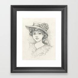 Sketch of an Edwardian Lady Framed Art Print