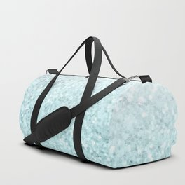 Pretty Turquoise Sparkles on Gray and White Marble Duffle Bag