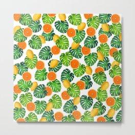 Oranges Lemons Monstera White Metal Print