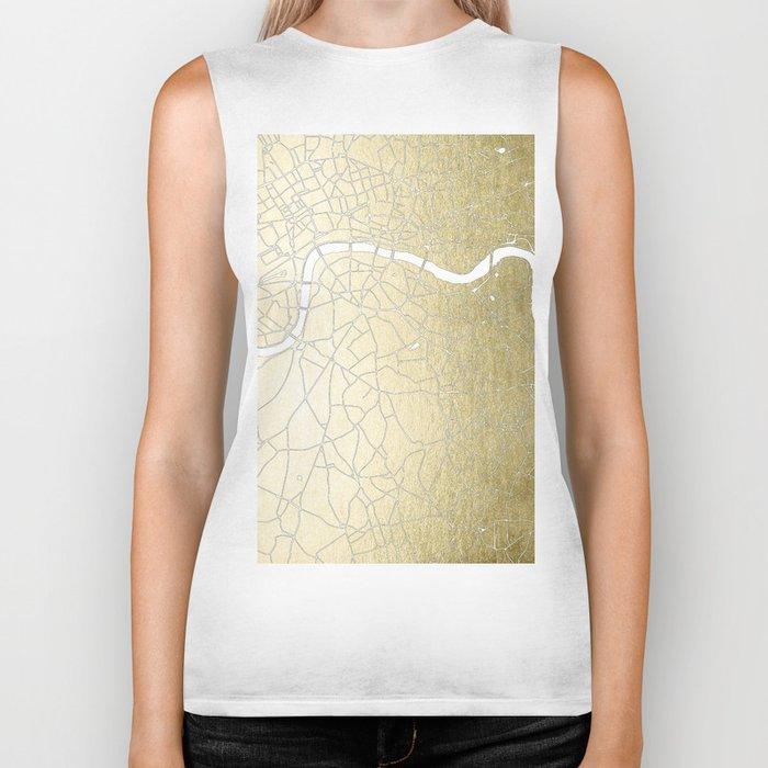 Gold on White London Street Map II Biker Tank
