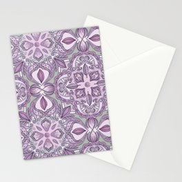 Lavender & Grey - Colored Crayon Floral Pattern Stationery Cards