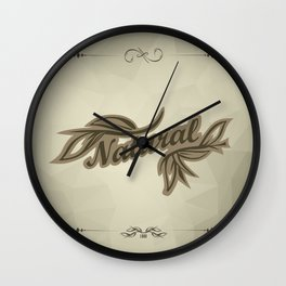 sticker badge with the inscription sheet and Natural. in natural colors Wall Clock