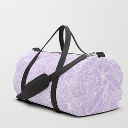 Modern trendy white floral lace hand drawn pattern on pastel lavender Duffle Bag
