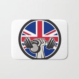 British Hand Lift Barbell Kettlebell Union Jack Flag Icon Bath Mat