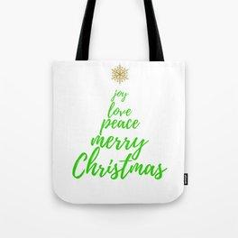 Christmas Tree - Green Gold - Merry Christmas Tote Bag