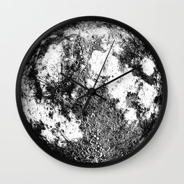 Negative Full Moon Print, by Christy Nyboer Wall Clock