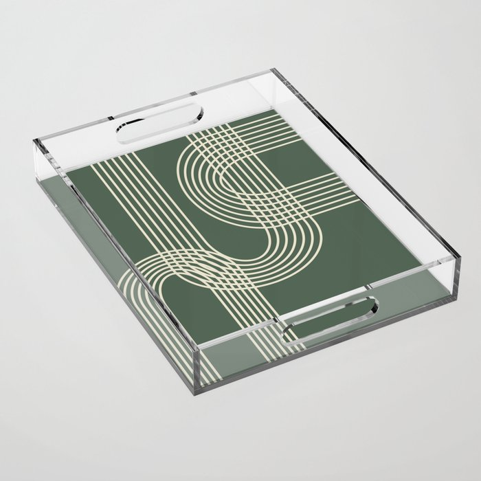 Minimalist Lines in Forest Green Acrylic Tray