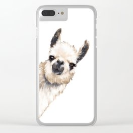 Sneaky Llama White Clear iPhone Case