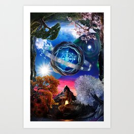 X . The Wheel Tarot Card Illustration Art Print