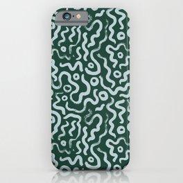 Sky Blue Green Abstract Swirls Brush Pattern Print iPhone Case