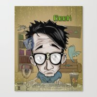 geek Canvas Prints featuring Geek by Aguamala