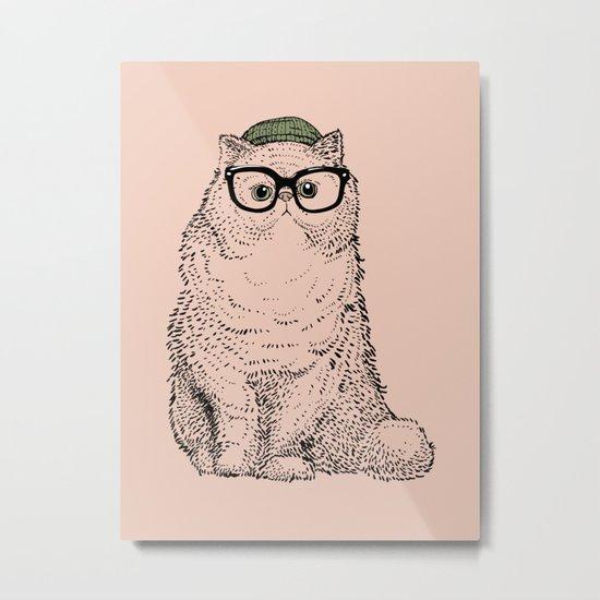 Hipster Persian Cat Metal Print