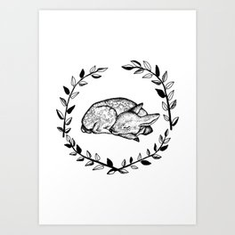 Sleeping Baby Deer Art Print