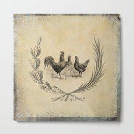 Farm Living - Vintage Hens in Wreath Metal Print