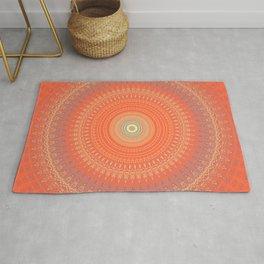 Bright Coral Mandala Design Rug