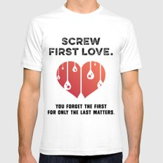 First Love [BLACK] White SMALL Mens Fitted Tee