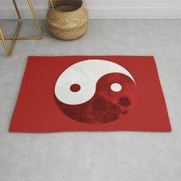 Red Yin Yang Symbol Rug