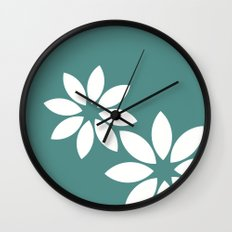 Flora2 (teal) Wall Clock