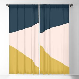 Jag 2. Minimalist Angled Color Block in Navy Blue, Blush Pink, and Mustard Yellow Blackout Curtain