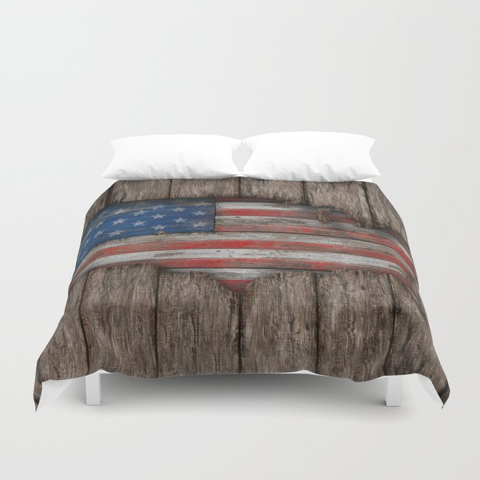American Wood Flag Duvet Cover