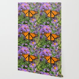 Monarch Butterfly on Wild Asters (square) Wallpaper