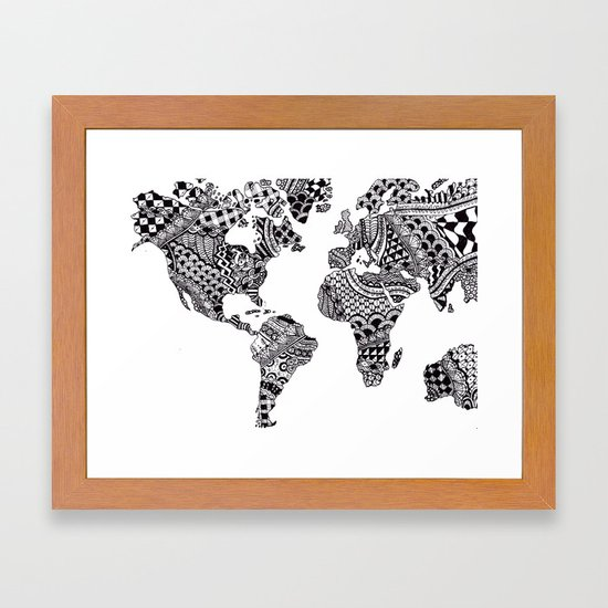 Zentangle world map framed art print by allygracie society6 gumiabroncs Images
