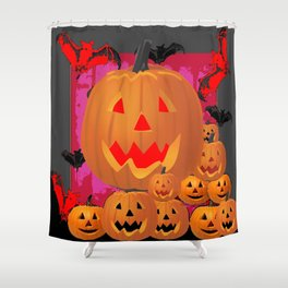 HALLOWEEN JACK O'LANTERNS & BATS ART Shower Curtain