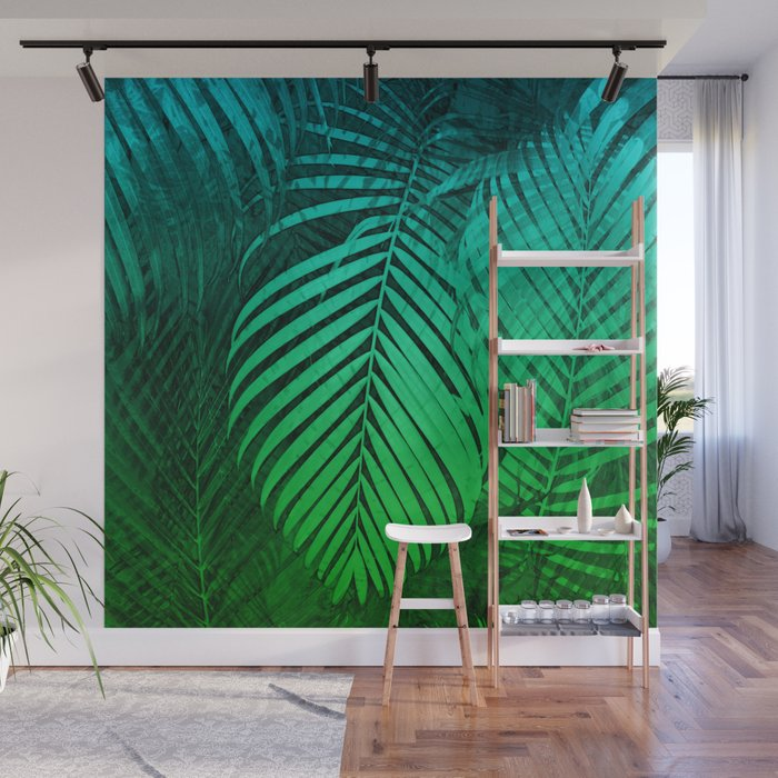 TROPICAL GREEN BLUE LEAVES Wall Mural