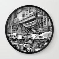 korean Wall Clocks featuring Korean Rain by Anthony M. Davis