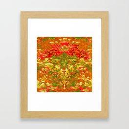 French Nouveau Red-Green Floral Caramel Color Designs Framed Art Print