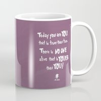 dr seuss Mugs featuring dr seuss youer than you by studiomarshallarts