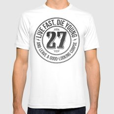 Live fast die young MEDIUM Mens Fitted Tee White