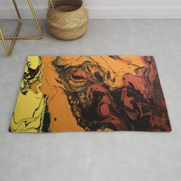 Dirty Acrylic Pour Painting 06, Fluid Art Reproduction Abstract Artwork Rug