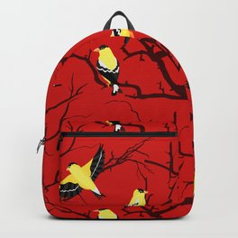 Goldfinches in the Branches Yellow and Red Backpack