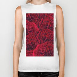 Rouge Garden - Red Roses and Peonies Pattern Biker Tank