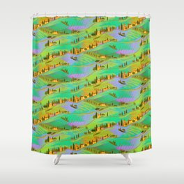Italian vacations, pattern with Tuscany landscapes Shower Curtain