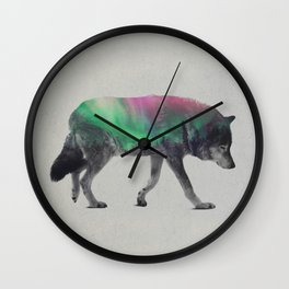 Wolf In The Aurora Borealis Wall Clock