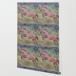 A brown horse jumping on a green meadow Pastel drawing Animal Art in the landscape Wallpaper