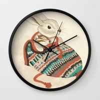 xmas Wall Clocks featuring cozy chipmunk by Laura Graves