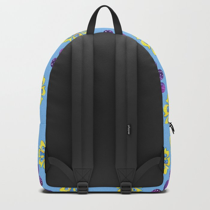 A Purple and Yellow Flower Pattern Backpack