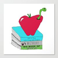 bookworm Canvas Prints featuring Bookworm by Atomic Starlights